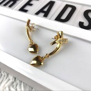 Vintage Avon Gold Heart Dangle Earrings EUC